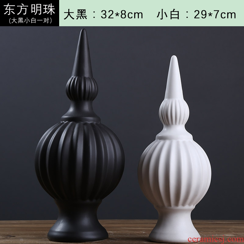 European creative furnishing articles home wine ark, adornment sitting room, black and white Oriental pearl abstract ceramic handicraft decoration