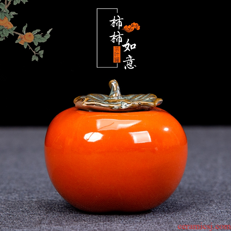 Chinese style gifts creative ceramic persimmon tea pot home furnishing articles sitting room tea table decorations foreigner gift