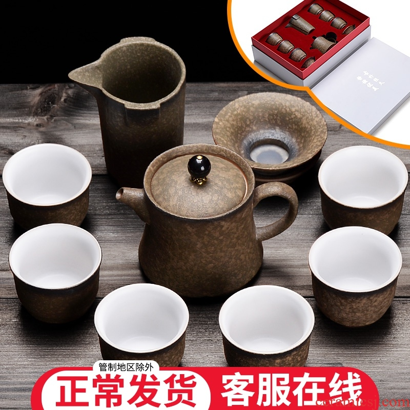 Teapot teacup set ceramic home a whole set of kung fu tea set contracted coarse pottery tea tea office to receive a visitor