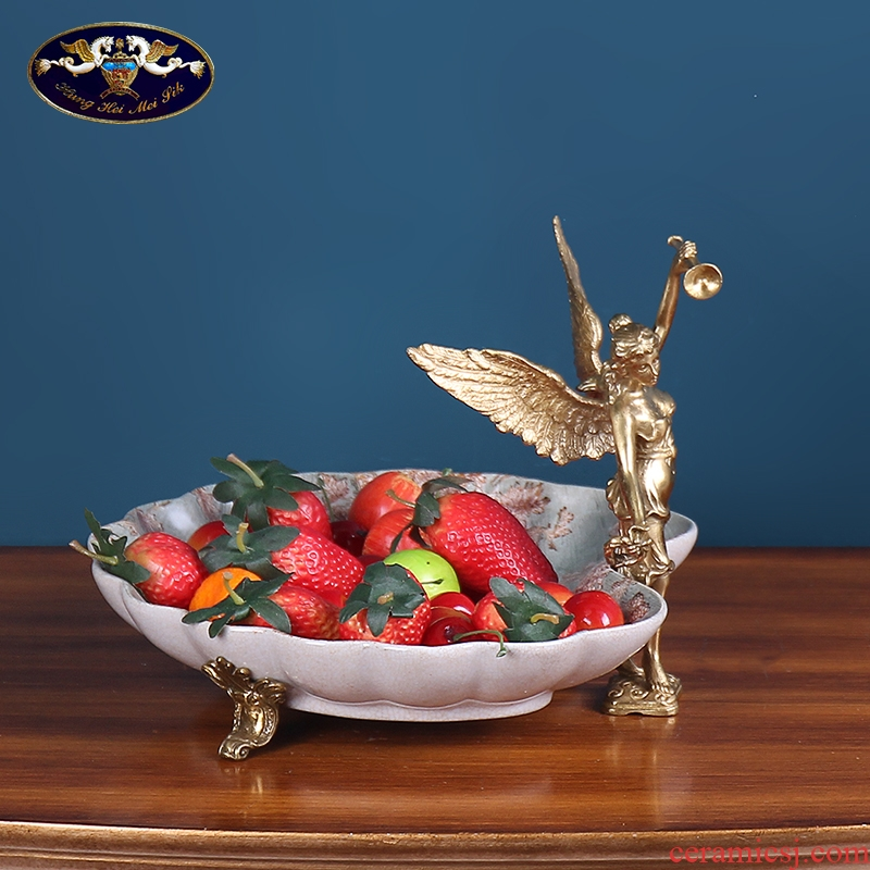 European modern home creative home sitting room tea table top grade ceramic bowl American key-2 luxury fruit bowl is received