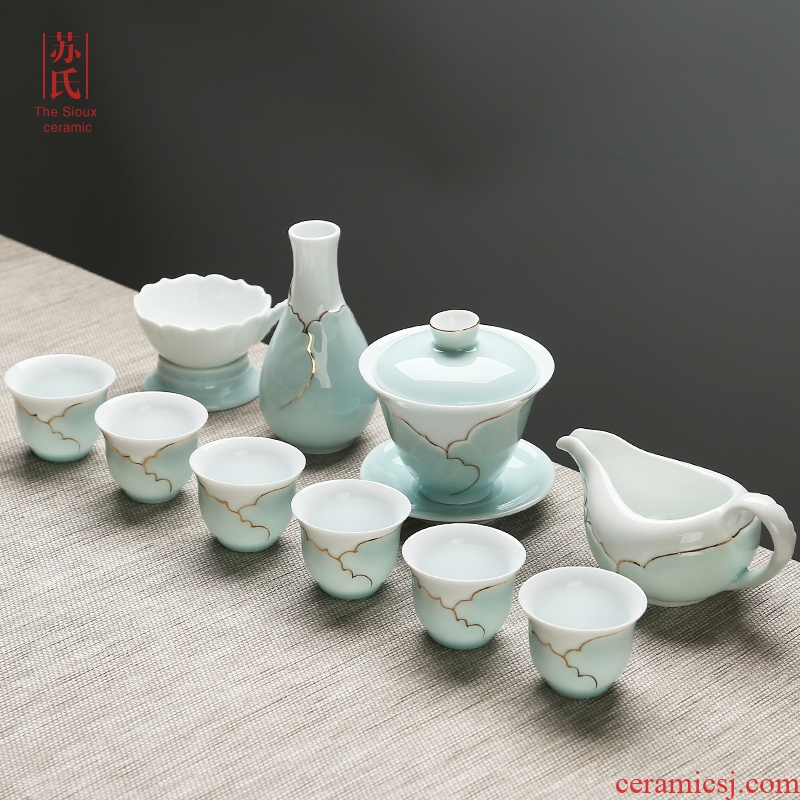 The Sioux ceramic tea set The home office of a complete set of kung fu tea sets The teapot tea cups