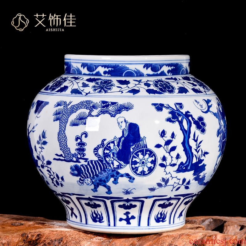 Jingdezhen ceramic vases, antique hand - made porcelain guiguzi down the mountain flower arrangement sitting room adornment of Chinese style household furnishing articles