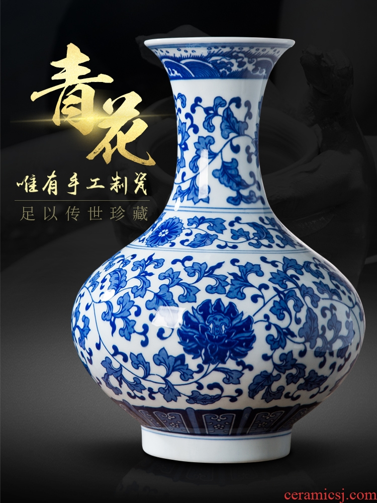 Jingdezhen porcelain vases, antique Chinese blue and white porcelain vase household act the role ofing is tasted, the sitting room decorate rich ancient frame furnishing articles