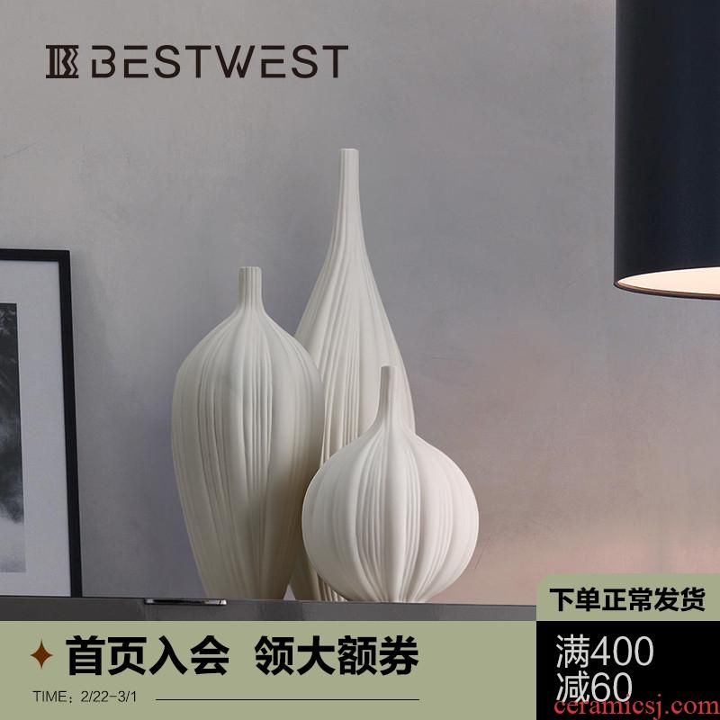 New Chinese style element large ceramic vase furnishing articles white dry flower vase example room sitting room soft decoration ideas