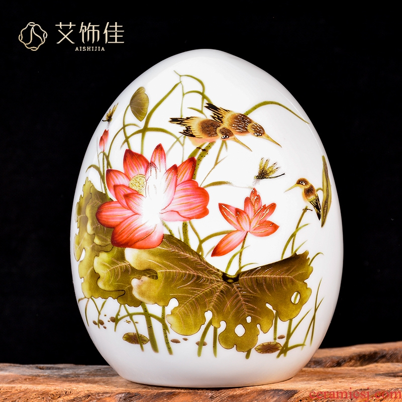Jingdezhen ceramics JiXiangFu lucky egg and egg furnishing articles of new Chinese style household living room TV cabinet decorative arts and crafts