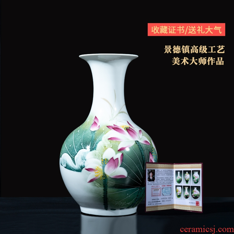 Jingdezhen ceramics master hu, hand - made vases place to live in the sitting room TV ark, decorative arts and crafts