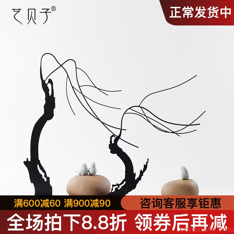 New Chinese style example room sitting room place the metal ceramic bird creative soft outfit the TV cabinet floor decoration of zen