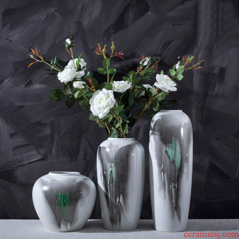 Jingdezhen ceramic hand - made Chinese ink painting vase three - piece home living room table desktop adornment ornament