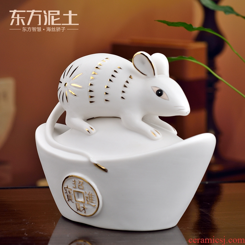 Oriental clay ceramic furnishing articles in 2020, the year of the rat rat rat mascot New year gift activities throughout the year