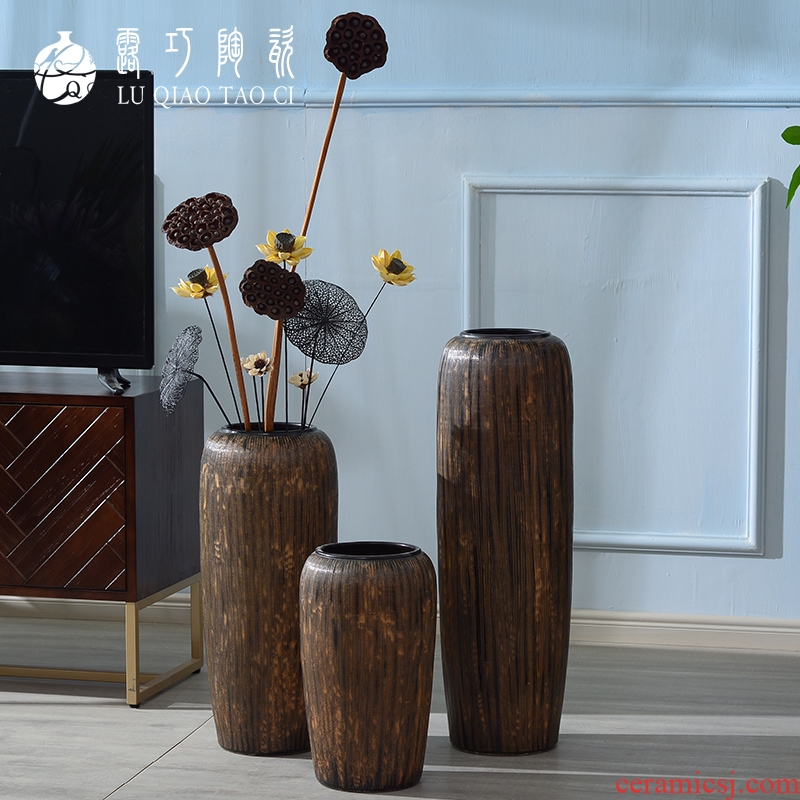 Large ceramic vase restoring ancient ways furnishing articles sitting room ground decoration flowers, dried flowers, European - style Chinese zen checking out flowers
