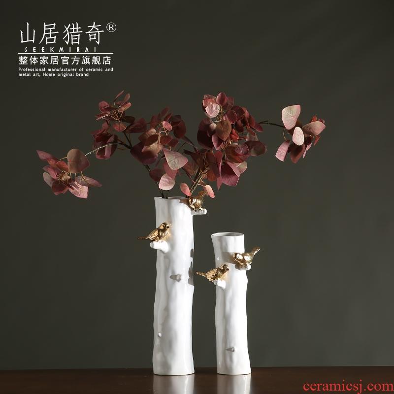 Modern Chinese style living room zen flower implement northern American rural white ceramic bird tree straight vase