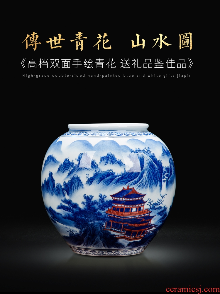 Blue and white porcelain of jingdezhen ceramics hand - made double cylinder sitting room decoration gift collection exhibition hall study furnishing articles