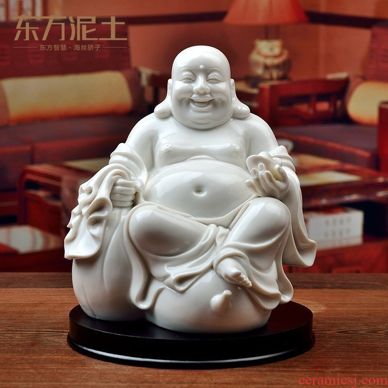 Oriental soil dehua white porcelain arts and crafts maitreya furnishing articles desktop laughing Buddha sitting room adornment blessed/passed on