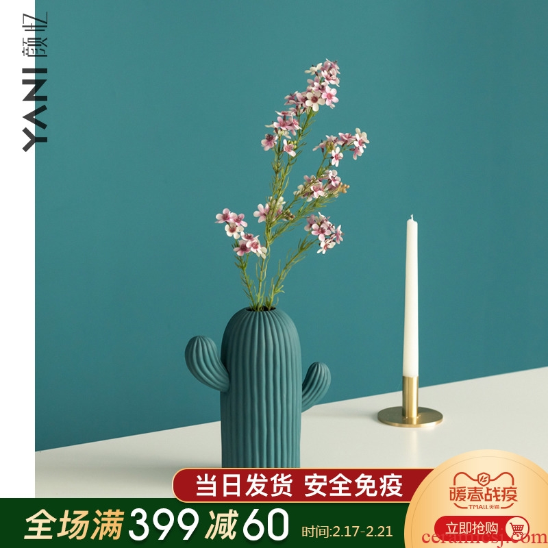 YANI yan have contracted northern wind sitting room adornment ceramic vase mesa creative furnishing articles cactus flower arrangement