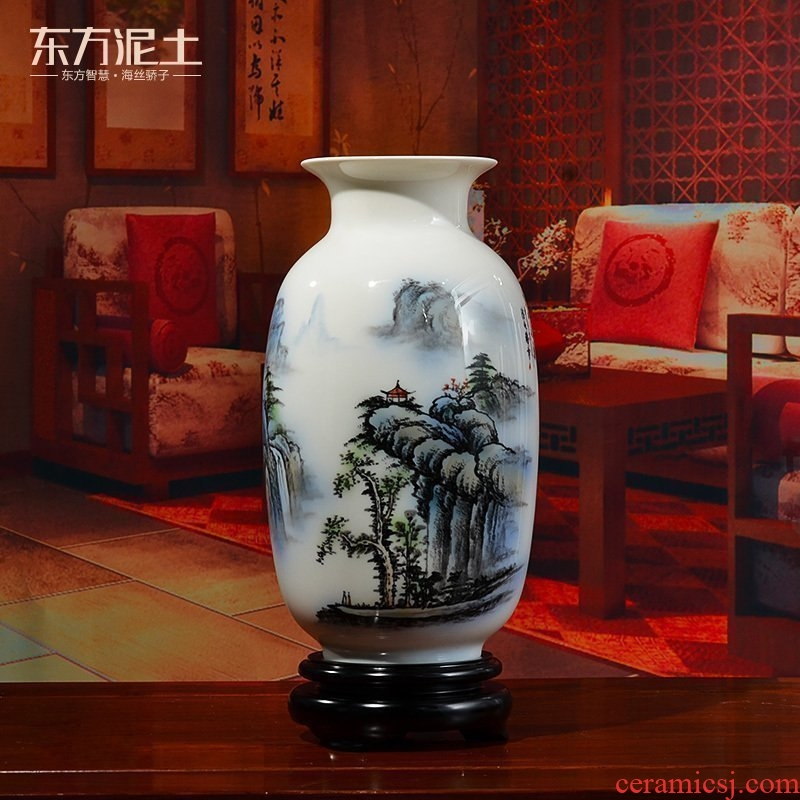 Oriental clay ceramic hand - made porcelain vase furnishing articles of Chinese style sitting room adornment rich ancient frame/green dragon waterfall