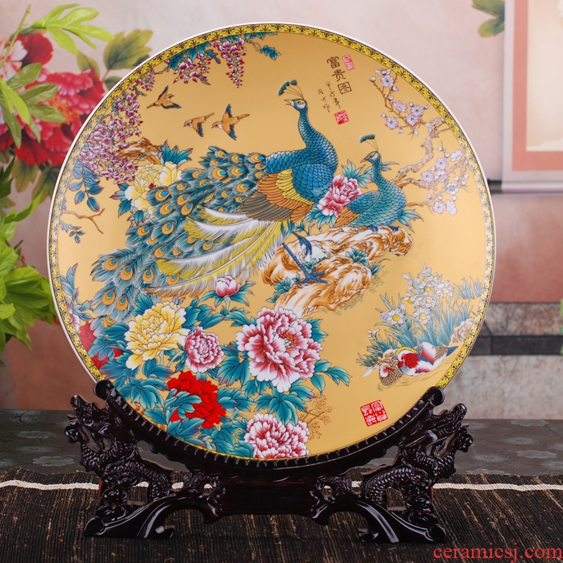Jingdezhen ceramics faceplate fashionable sitting room adornment home decoration to the base plate of furnishing articles arts and crafts