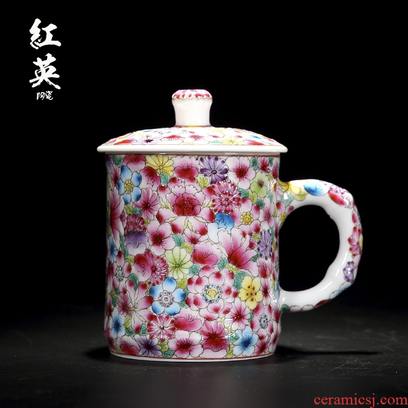 Red Chinese antique hand - made the jingdezhen ceramics flower office keller cup with handle with cover business household