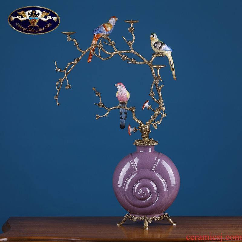 American household act the role ofing is tasted coloured drawing or pattern the magpies conch ceramic bottle furnishing articles sitting room porch villa key-2 luxury decoration arts and crafts