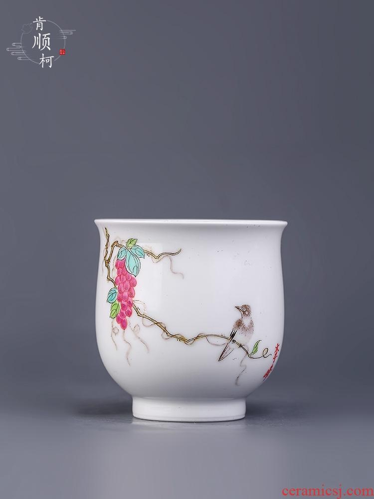Jingdezhen hand - made sample tea cup cup famille rose grape birds master cup pure manual white porcelain teacup kung fu tea set