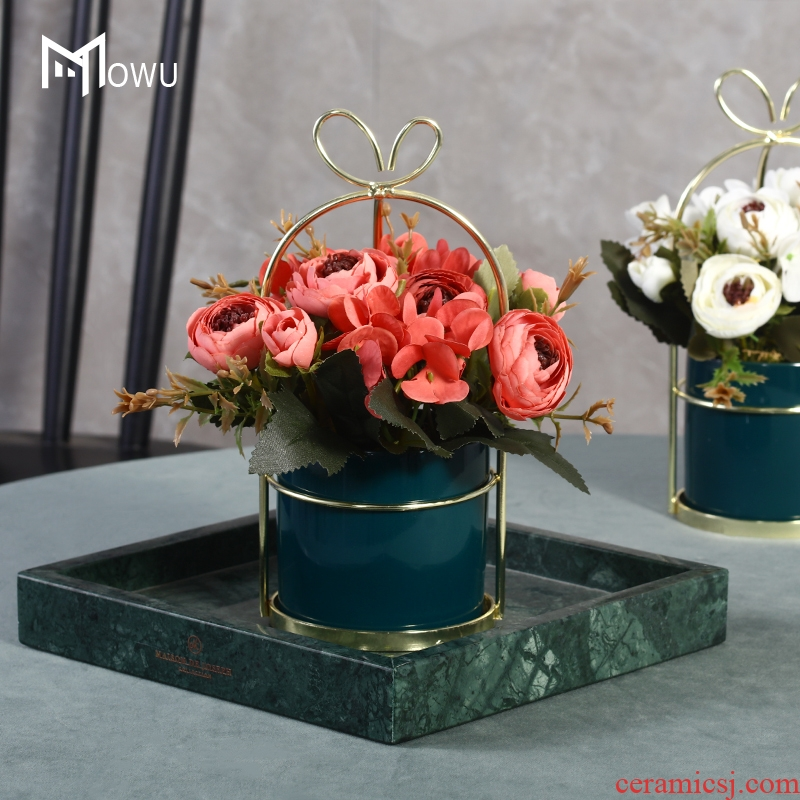 INS wind fake flowers sitting room decoration ceramics flowerpots floral suit simulation table surface decoration small place in northern Europe