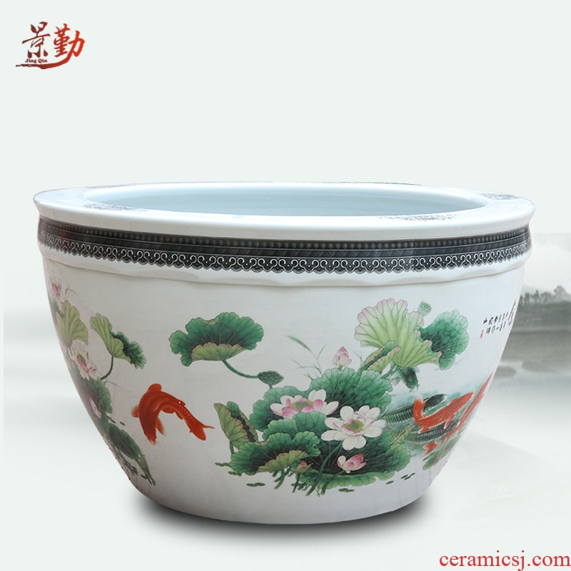 Jingdezhen ceramics powder enamel 8 full daikin tank cylinder water lily tortoise refers to flower pot furnishing articles