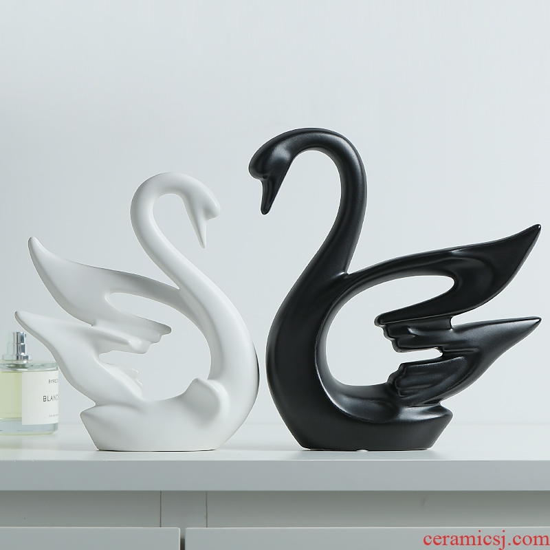 I and contracted, black and white couples swan furnishing articles wedding present creative new wine sitting room adornment ceramics