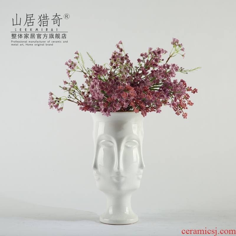 Nordic household creative face vase crack white ceramic vase furnishing articles example room table decoration