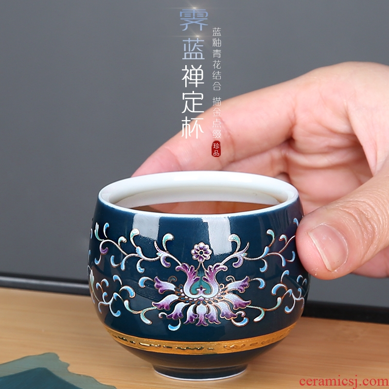 Jingdezhen blue and white porcelain ceramic cups hand - made kung fu tea tea set, sample tea cup hat to cup the master cup single CPU