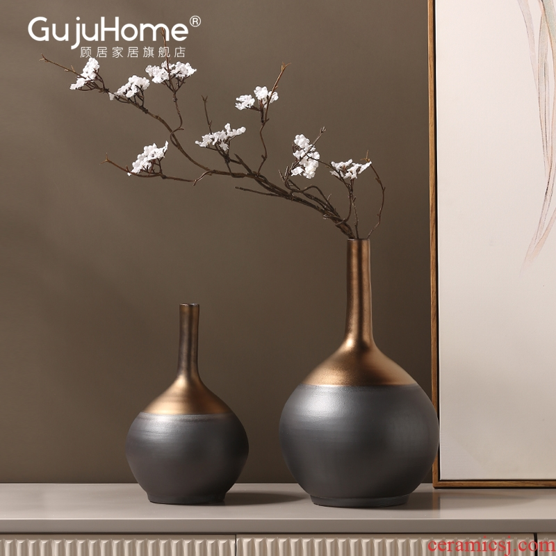 I and contracted light key-2 luxury ceramic vase American creative home furnishing articles flower arranging flowers, soft outfit decoration designers