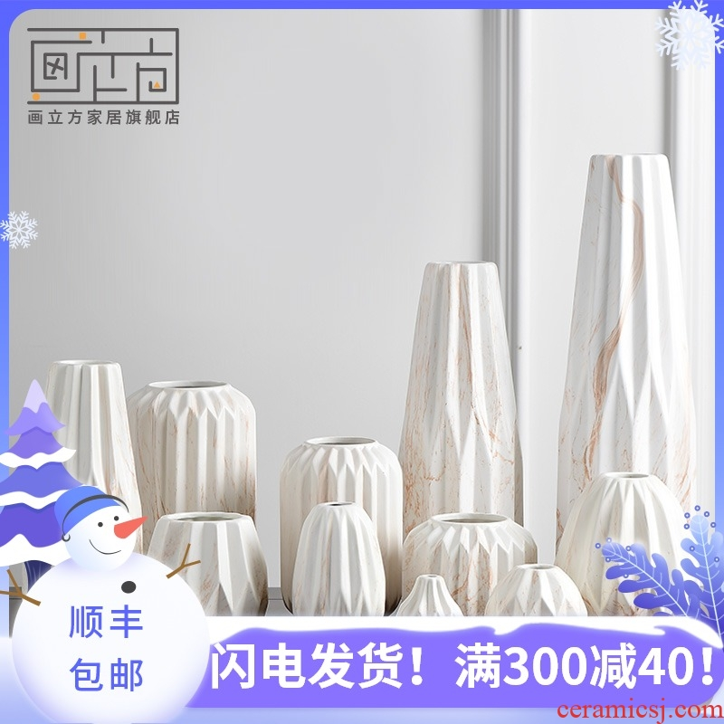 Fashion cubic Nordic modern creative ceramic vase flower arranging dried flower table sitting room home decoration