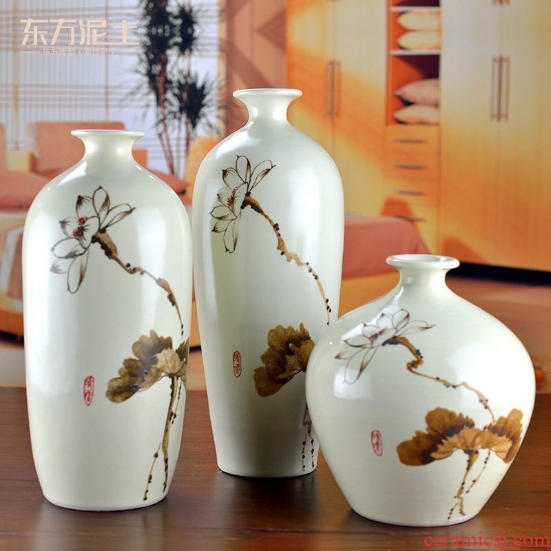 Oriental soil of new Chinese style ceramic vase furnishing articles furnishing articles TV ark, three - piece suit the sitting room porch partition lotus bottle