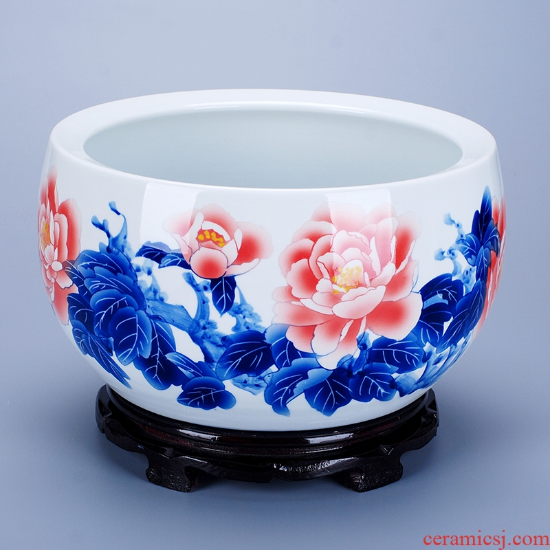 Jingdezhen blue and white hand draw freehand brushwork in traditional Chinese ceramic water shallow goldfish GangPen keeps refers to the lotus pond lily furnishing articles carried in water