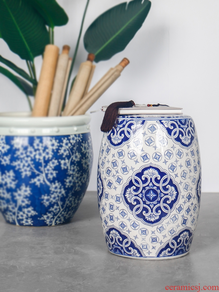 Hand - made classic elegant blue and white porcelain ceramic drum who Chinese archaize sitting room study hall what decorative furnishing articles