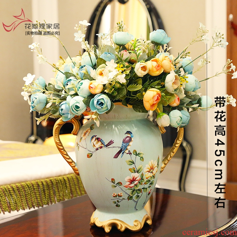 European American ceramic vase furnishing articles restoring ancient ways of dry flower art flower arranging flowers simulation creative home sitting room