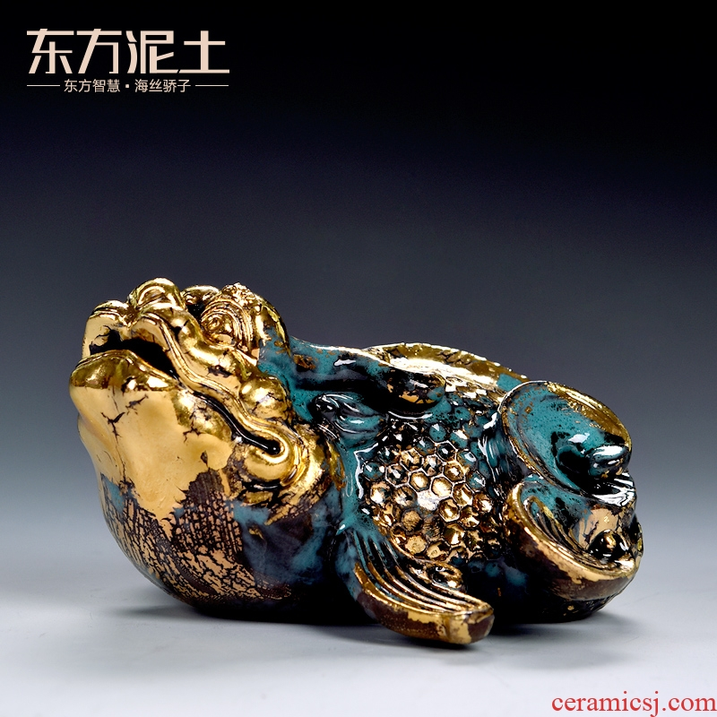 Clay ceramic east sea god beast arowana adornment handicraft animals desktop furnishing articles gold bronze see colour