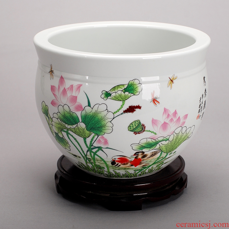 Jingdezhen ceramic aquarium goldfish turtle cylinder fish basin water lily bowl lotus furnishing articles