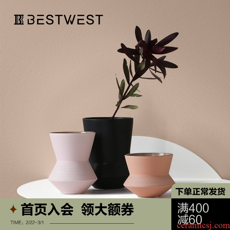 BEST WEST morandi creative ceramic vase color soft decoration light key-2 luxury furnishing articles sitting room dry flowers in the vase