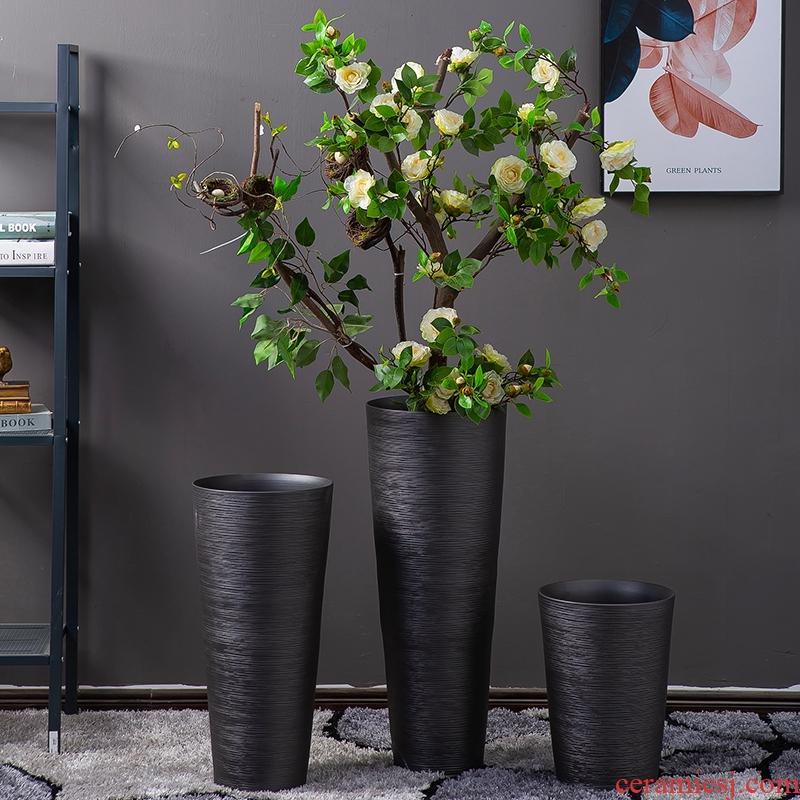 Jingdezhen vase sitting room hotel flower arranging zijin black frosted glass vases Chinese style porch decoration large furnishing articles
