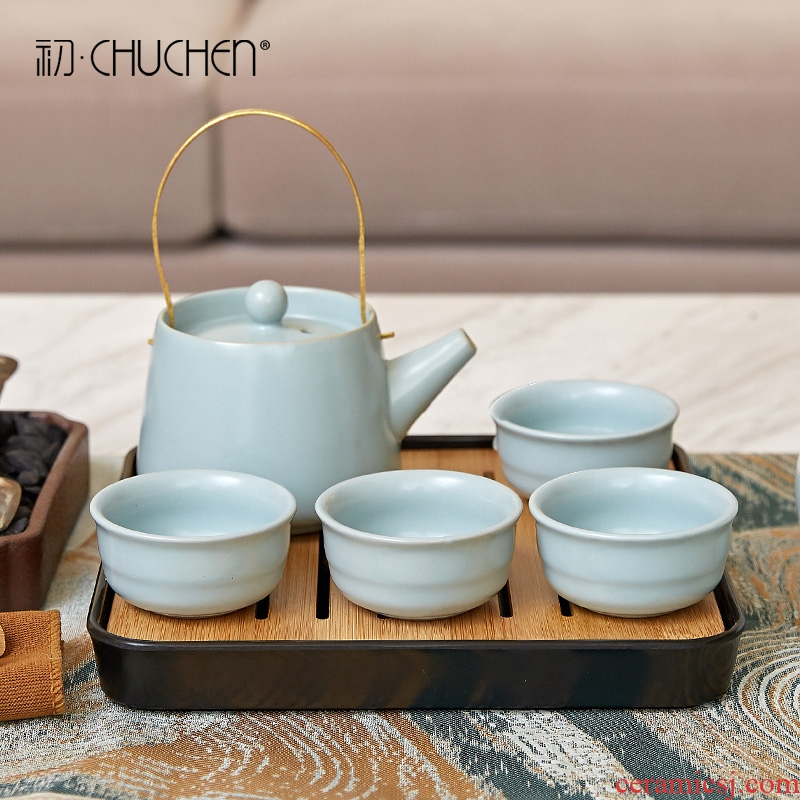 Kung fu tea set ceramic teapot teacup of new Chinese style household contracted sitting room tea table travel home decoration
