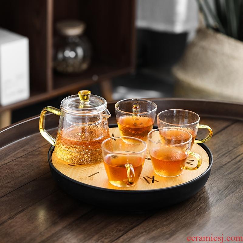 Su ceramic creative tea tray, tea set of glazing hammer handle teapot with four cups