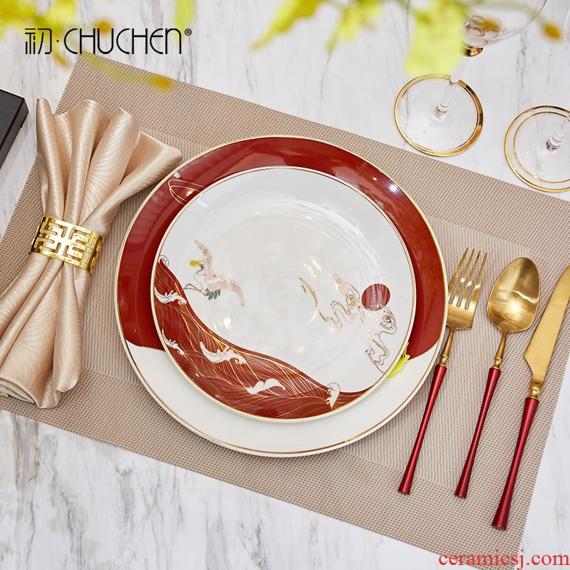New Chinese style ceramic tableware suit furnishing articles modern household light key-2 luxury restaurant table west pot home decoration
