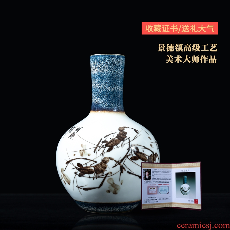 Jingdezhen ceramics hand - made shrimp boring vases, flower arranging new Chinese style furnishing articles, the sitting room porch home decorative arts and crafts