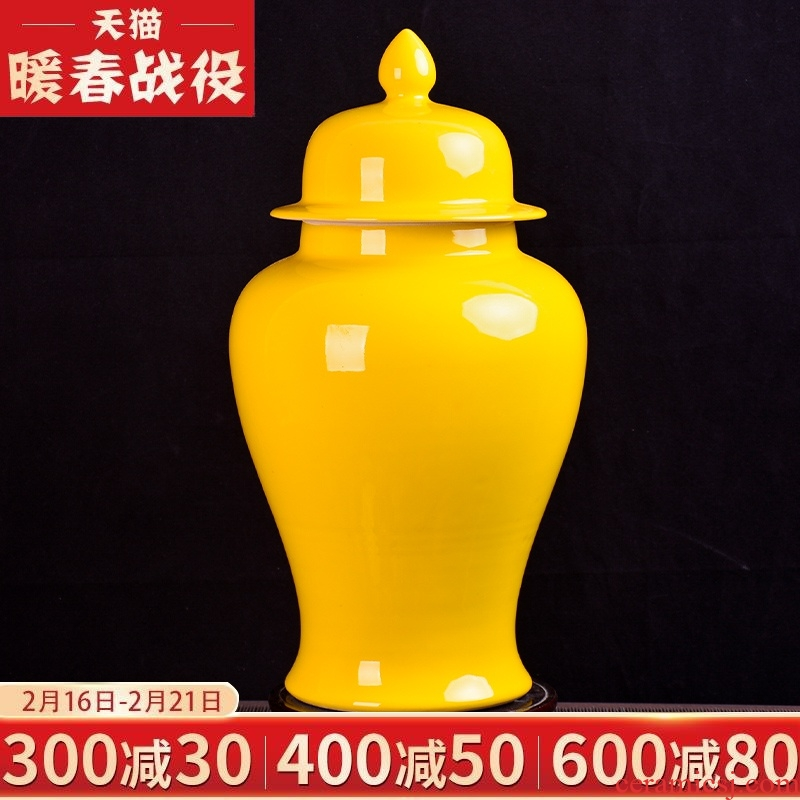 Jingdezhen ceramics yellow general tank storage tank household caddy fixings to decorate the sitting room porch place TV ark