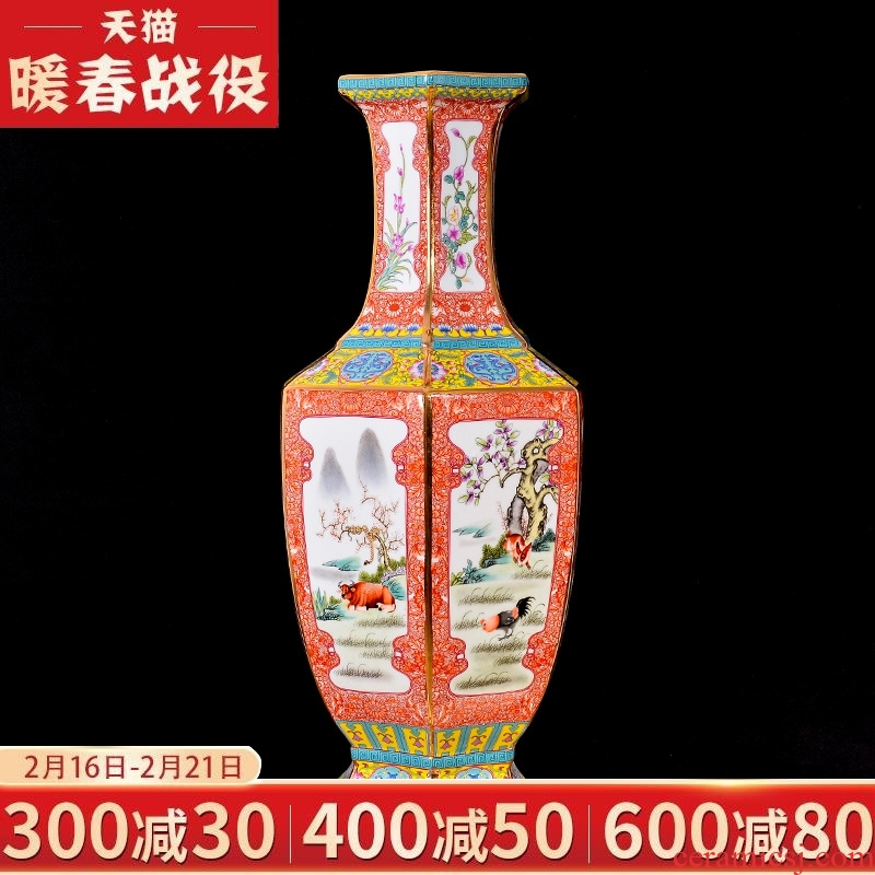 Archaize of jingdezhen ceramics colored enamel flower arranging new Chinese style classical vase home decoration crafts are sitting room