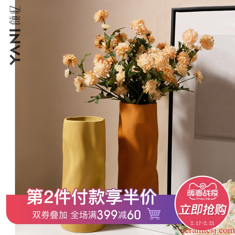 Creative vase furnishing articles home flower arranging contracted sitting room porch TV ark, ceramic decorative flower implement light key-2 luxury decoration