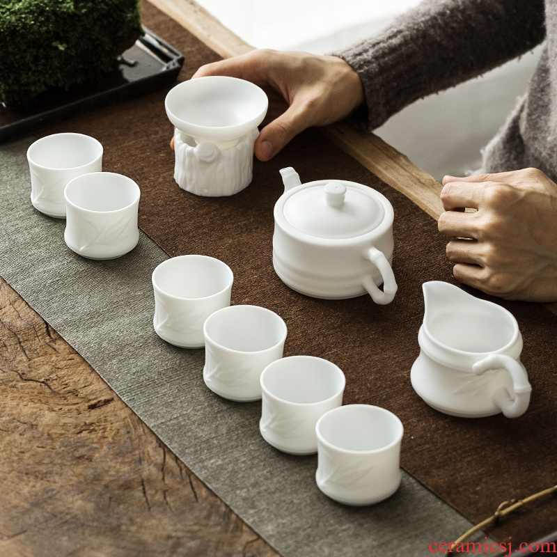 The Get | in dehua white porcelain kung fu tea set the whole household teapot office tureen cups gift boxes