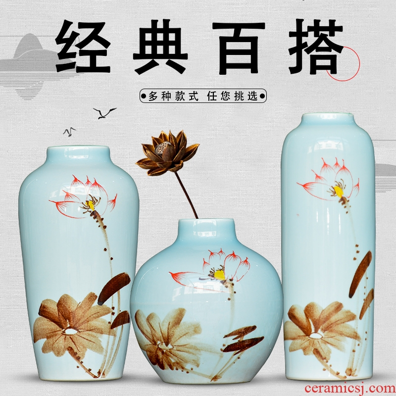 Jingdezhen modern new Chinese style ceramic vase furnishing articles sitting room of TV ark, dried flower arranging flowers wine porch decoration
