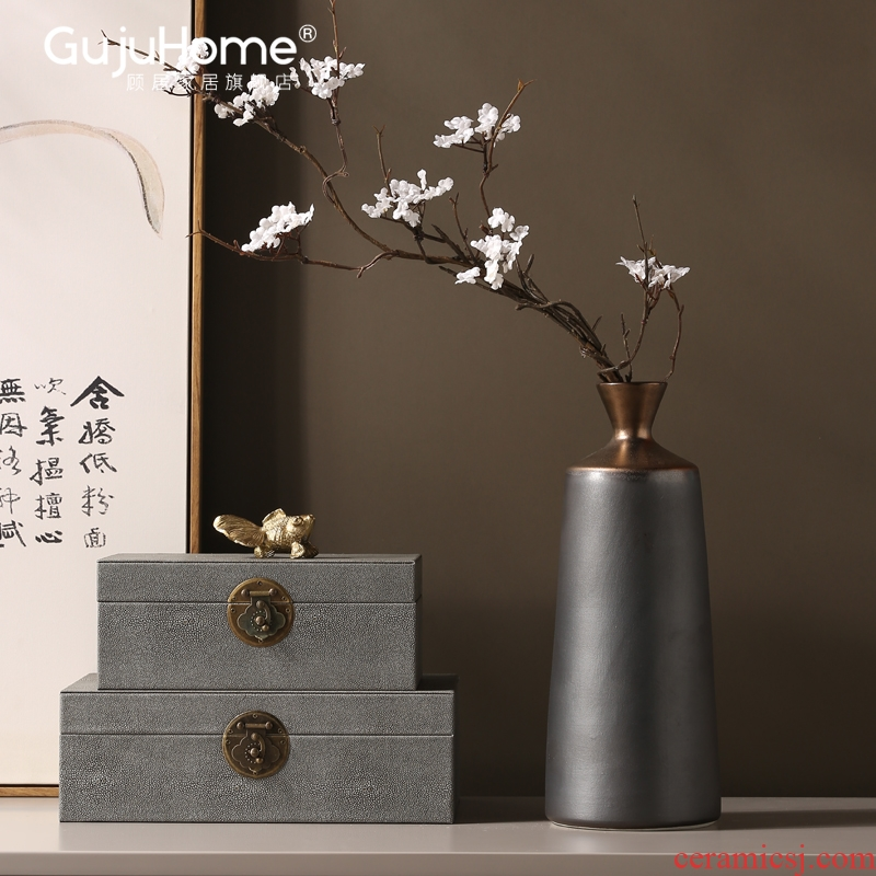 New Chinese style ceramic vases, flower arranging furnishing articles, the sitting room porch table between example light key-2 luxury household soft adornment ornament