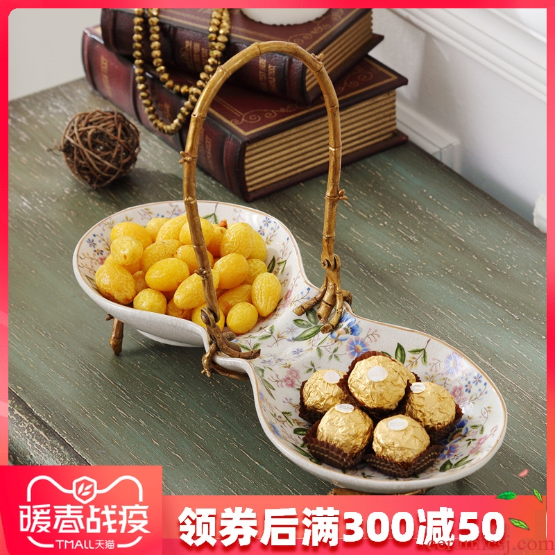 Ceramic creative fruit bowl sitting room European - style snacks with copper plate frame dry fruit tray snack dish candy dish