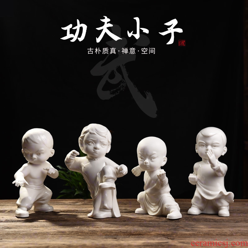 Oriental soil kung fu boy character furnishing articles dehua white porcelain its art creative living room partition decoration